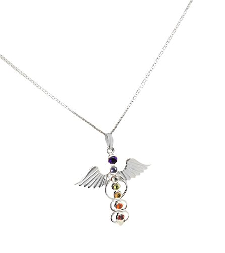 Mirabella BellaMira Chakra - Necklace Pendulum - Genuine Rose Quartz Amethyst Crystal Quartz Meditation Yoga Spiritual Reiki Gift Boxed (Kundalini Sterling Silver Necklace (925))