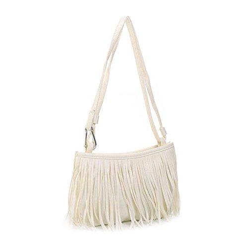 New PU Leather Tassel Handbag Shoulder Bag Fringe Hobo Cross Body Womens Sling ()