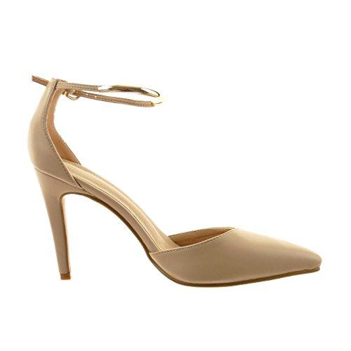 Sopily - Scarpe da Moda scarpe decollete stiletto alla caviglia donna fibbia d'oro Tacco Stiletto tacco alto 10 CM - Beige