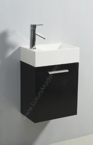 Vs ALEXIUS   BLACK 16u0026quot; X 10u0026quot; Inch Small Bathroom Vanity Sink    Floating