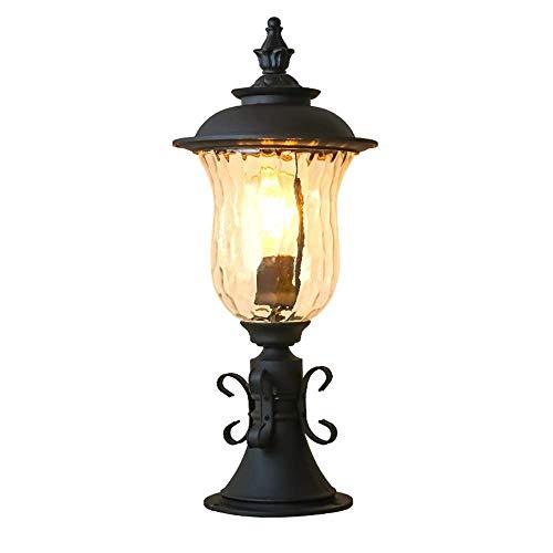 (LMDH Rustic Post Light Pier Mount Fixture Black Glass for Exterior Deck Garden Yard Porch Driveway)