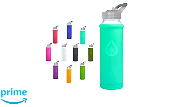 Bumperguard Silicone Sleeve Wide Mouth Opening 21 Ounce//630 ml Eveau Glass Water Bottle with Flip Lid//Straw Lid