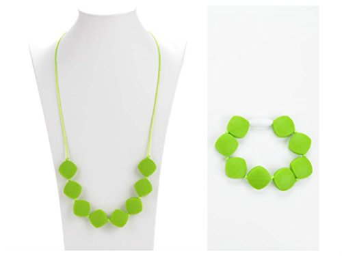 Silicone Teething Necklace And Bracelet Set With Diamond Shaped Beads - Breastfeeding Nursing Necklace - Teething Relief for Babies - Fashion Jewelry Set - Baby shower gift by Adams Pack (Green) ()