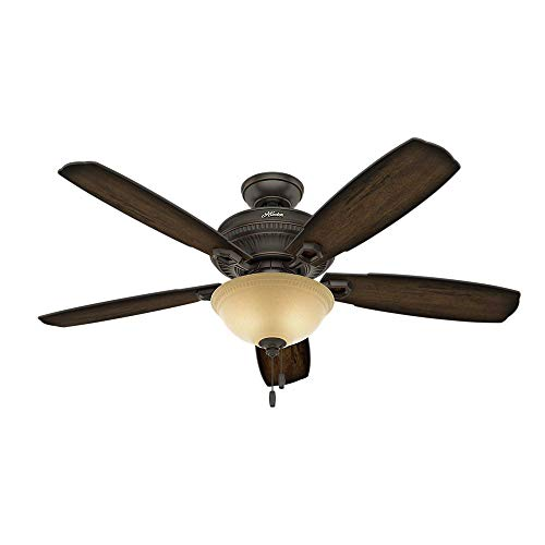 Hunter Fan Company 53353 Hunter 60 Ambrose Onyx Bengal Ceiling Fan with Light, 52in, Black