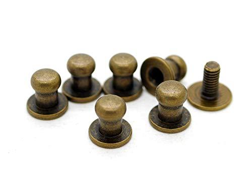 CRAFTMEmore 6MM Ball Head Stud Screw Back Nipple Rivet Studs Button Strap Stopper Leathercraft 20 Pack (Antique Brass)