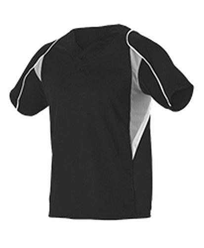 Alleson Youth 2 Button Henley Baseball Jersey Black, Grey, White XL 529Y 529Y-BKGRWH-XL 2 Button Placket Baseball Henley