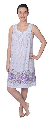 Beverly Rock Women's Sleeveless Cotton Blend Knit Nightgown RQ125 Purple L