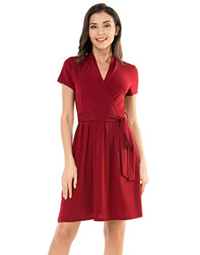 Fresca Womens Summer V Neck Swing A-Line Short Sleeve Belted Midi Work Dress Faux Wrap Dress Wine Medium