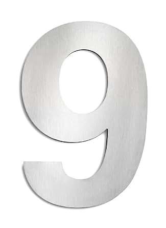 CMD - Número para casas (acero inoxidable, 9, tamaño grande)