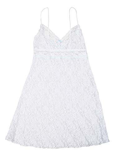 Hanky Panky Annabelle Lace Chemise, M, White / Baby Blue