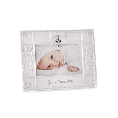 DEMDACO Jesus Loves Me Frame 4 X 9.25 x 7.75 Porcelain Picture - Collection Blessings Nativity