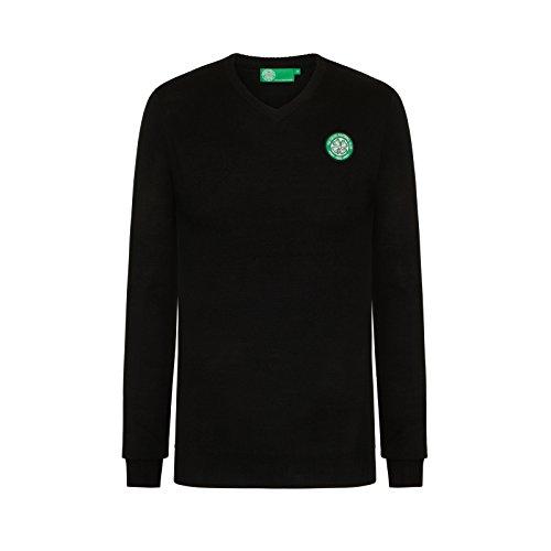 2926d5141 Celtic FC Official Soccer Gift Mens Crest Knitted V-Neck Jumper Black Large