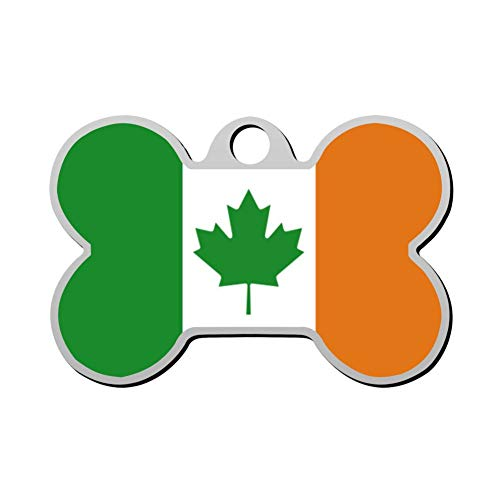 ZLCM Canada - Ireland Flag Mashup Personalized Pet ID Tags for Dogs & Cats, Front & Backside Engraving The Dog Tags