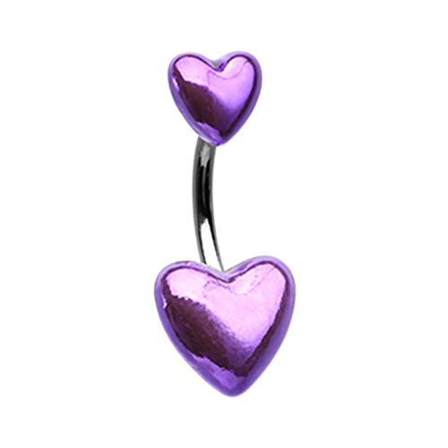 14 GA Purple Two of Hearts Metallic Navel Belly Button Ring 316L Stainless Steel Body Jewelry Piercing Davana Enterprises