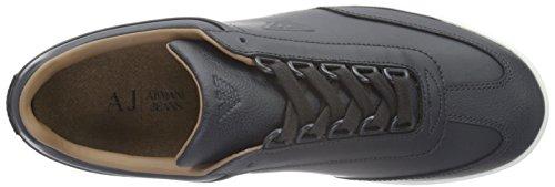 Armani Jeans Heren Lage Top Adelaar Logo Mode Sneaker Blauw Grafiet