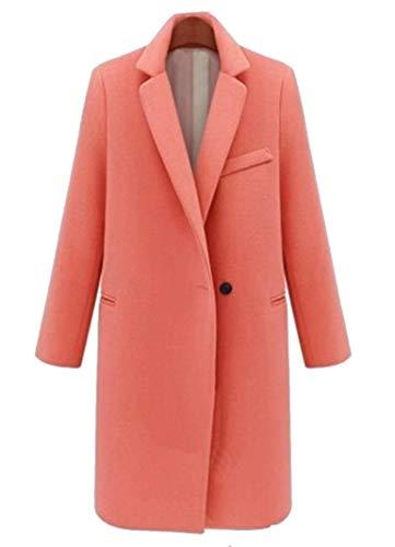 Bavero Cappotti Di Rosa Windbreaker Giubotto Elegante Tasche Lunga Donna Especial Anteriori Colore Puro Button Manica Moda Invernali Estilo EHW29YDI