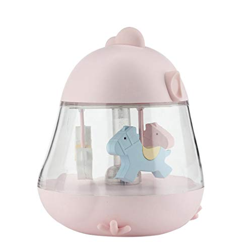 Pstars Carousel Music Box Light Rotate Horse Gifts Night Lamp with Timer&Touch ()
