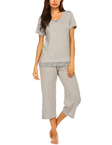 Modal Jersey Cropped Pant - Ekouaer Women Sleep Set Solid Modal Pajama Set Soft Jersey Sleepwear (Gray,M)