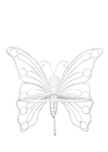 Hi-Line Gift Ltd Garden Décor Butterfly Chair, 45 by 24 by 42-Inch, White