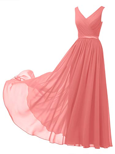 Alicepub V-Neck Chiffon Bridesmaid Dress Long Formal Gown Party Evening Dress Sleeveless, Coral Pink, US10