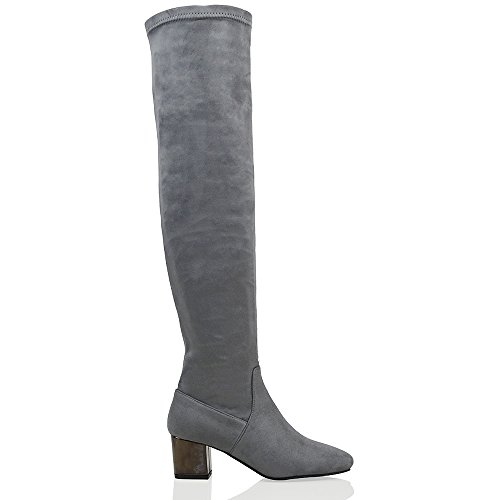 Over Boots Grey Knee ESSEX Stretch Size High Low Heel Thigh Faux The High Womens GLAM Suede Leg Winter 1wxxqIOH