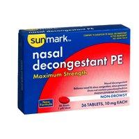 Sunmark Sunmark Nasal Decongestant Pe Maximum Strength, 36 tabs 10 mg