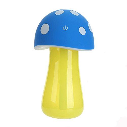 Mini Humidifier Kathy Portable Usb Mushroom Humidifier 200Ml Ultrasonic Cool Mist Air Humidifier Purifiers With Night Light For Kids Bedroom Office  Blue