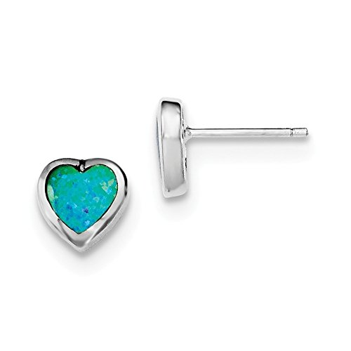 Sterling Silver Synthetic Simulated Opal Polished Heart Post (Post Heart Shaped Opal Earrings)
