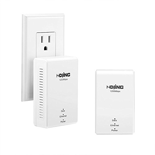 Powerline Adapter AV1200 Powerline Ethernet Adapter kit, 2 dapters with Plug and Play,Gigabit Port,Powerline Speed Up to 1200Mbps(P1200) by ZDJING