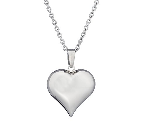 (Arrow Jewelry Stainless Steel Puffed Heart Charm Pendant Love Necklace, 18