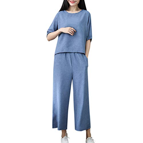 - Womens 2 Pieces Outfits Bamboo Cotton Linen Solid O Neck Shirt Top 7 Points Wide Leg Pants Set Blue