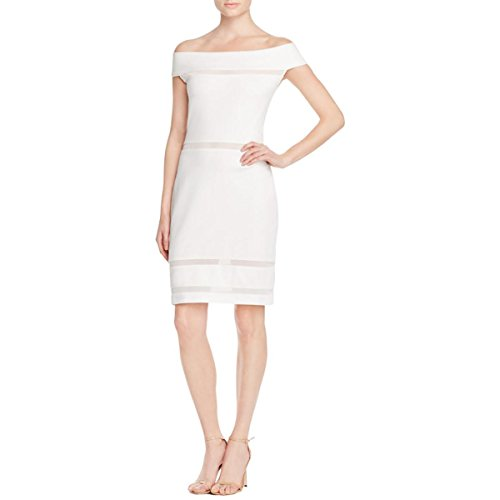 French Connection Women's Lula Stretch Off The Shoulder Dress, Summer White, 4