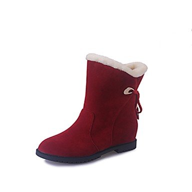 Round 5 CN35 Black US5 UK3 Pu RTRY Red Women'S For Boots Toe Mid Yellow 5 Calf Boots Boots EU36 Shoes Winter Casual Comfort Fashion qH8gpwq