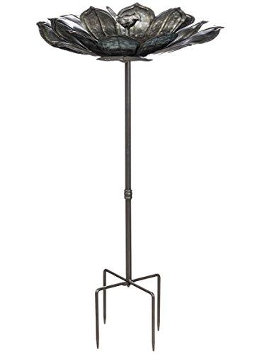 Display Feeder Stake (Sullivans MET1182 Metal Flower Petal on Stake Yard Art Bird Feeder, Gray, 32.5 x 17 inch)
