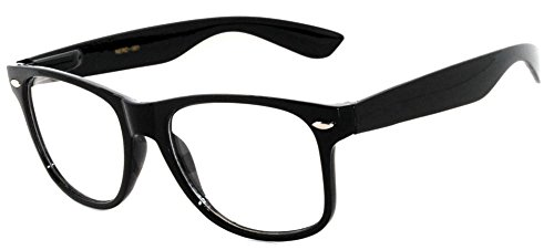 OWL - Non Prescription Glasses - Clear Lens Black Frame - UV Protection (1 - Black Glasses Wayfarer