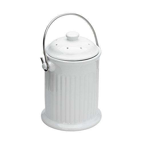 Fox Run 74941 Compost Bin, White Ceramic