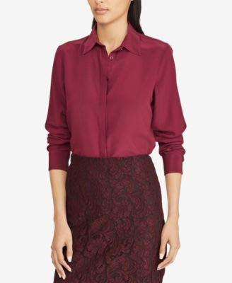 - Lauren by Ralph Lauren Womens Silk Button Down Shirt Purple XL
