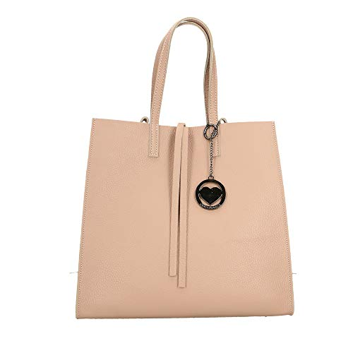 Rosa Italy 33x31x18 in Borsa cm Mano Chicca Pelle a Bag Borse Made in 6wpnZq41A