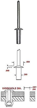 #88 Carton 1//4 x .37-.50 Closed End Blind Rivets//Aluminum Body//Steel Mandrel // 1,500 Pc