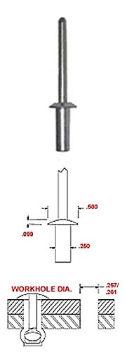 Plain Finish 1//4 X 3//8 Aluminum Closed END Rivet with Steel Mandrel Dome Head.251-.375 Grip Range Pack of 100
