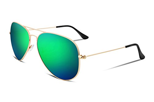 FEISEDY Vintage Aviator Metal Frame Plastic HD Lens Men Women Sunglasses Blue Green - Sunglasses Aviator Green