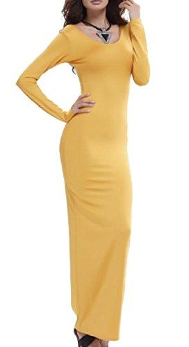 Jaycargogo Des Femmes De Manches Longues De Base Longue Robe Moulante Extensible 3