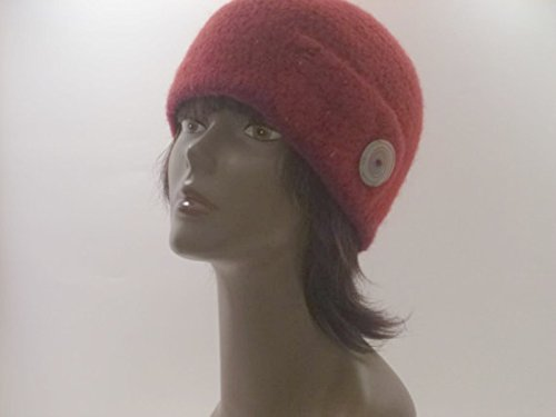 Tweed Cloche - Womens Felted Cloche Hat Maroon Tweed OOAK Brimless Felted Wool Cloche With Button