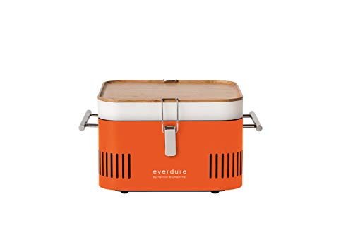 Everdure by Heston Blumenthal CUBE Portable Charcoal Grill Perfect for Picnics, Tailgating, Beach, Camping or Tabletop Patio BBQ, Lightweight and Compact, Orange