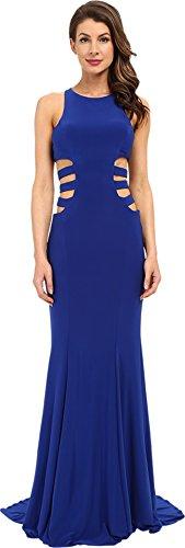 Faviana Women's Jersey Gown w/ Side Cut Outs 7820 Royal Dress 10