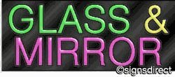 ''Glass & Mirror'' Neon Sign, Background Material=Black Plexiglass by Signs Direct