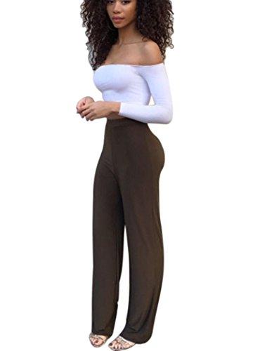 Mojessy Women's 2 Pieces Set Off Shoulder Crop Top + Long Pants Wide Leg Jumpsuits Medium Brown