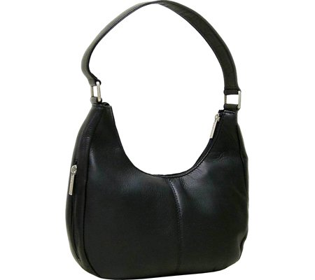le-donne-leather-single-handle-side-zip-hobo-black