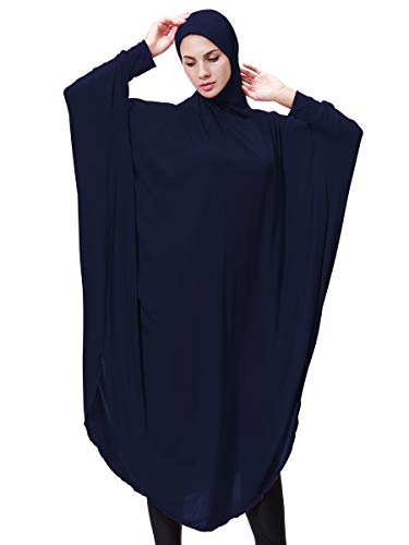 Womens Muslim Bat's-Wing-Sleeves Dress Big Kimono Loose Style Hijab Two in One by HANYIMIDOO