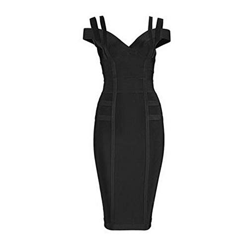 Bodycon Bandage Dress Women Spaghetti Strap Off Shoulder V-Neck Sexy Night Out Dress Vestidos,Black,S ()